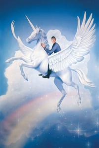 Spock Riding A Flying Unicorn Over A Rainbow By Tim O'Brien LITE